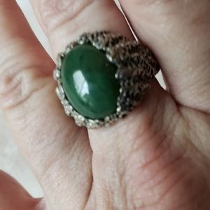 Other - Green stone & sterling ring-size 11 men's